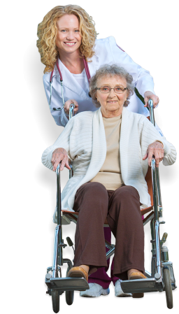portrait of an elder in a wheelchair and a caregiver